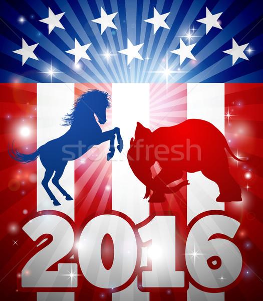 Seçim 2016 eşek vs fil maskot Stok fotoğraf © Krisdog
