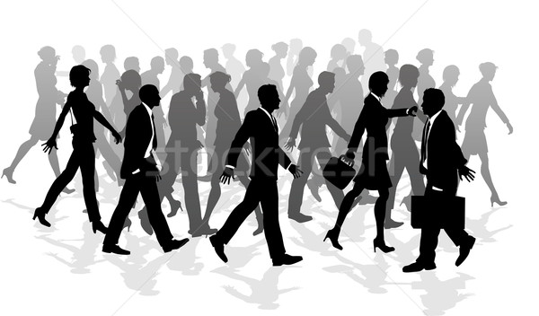 Business walking crowd rushing people Stock photo © Krisdog