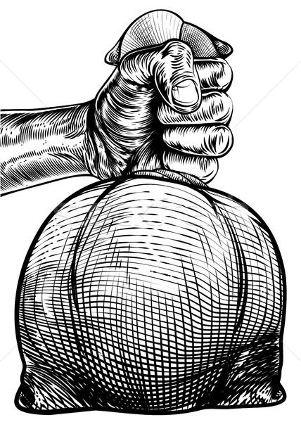 手 黄麻布 お金 袋 ストックフォト © Krisdog