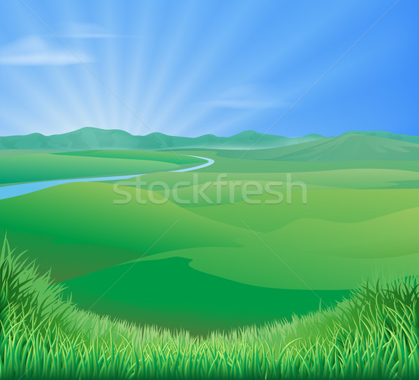 Illustration idyllique herbe verte collines soleil Photo stock © Krisdog