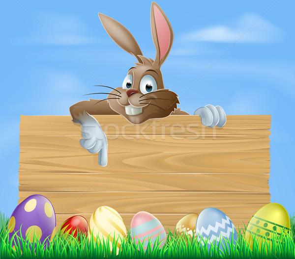 Stockfoto: Cartoon · Easter · Bunny · wijzend · geschilderd · chocolade