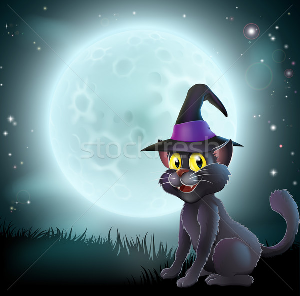 Halloween pleine lune sorcière chat illustration chapeau Photo stock © Krisdog
