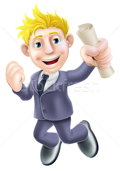 Jumping businessman and scroll Stock photo © Krisdog