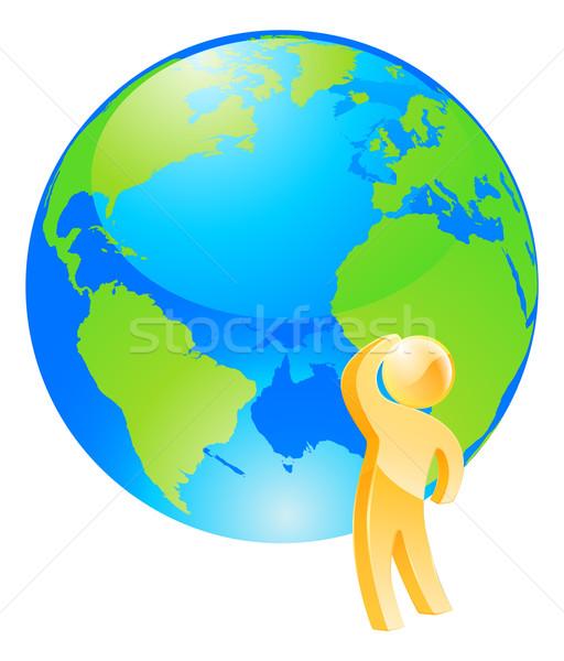 Looking at globe thinking concept Stock photo © Krisdog