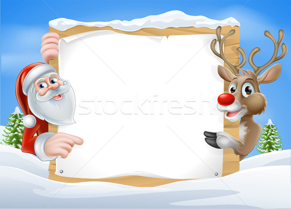 Christmas Reindeer and Santa Sign Stock photo © Krisdog