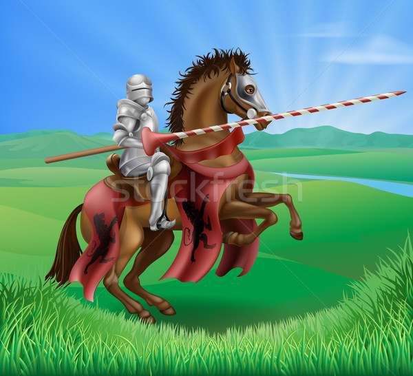 Caballero armadura rojo medieval equitación Foto stock © Krisdog