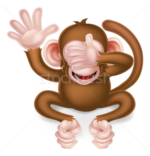 Zie geen kwaad wijs aap cartoon Stockfoto © Krisdog