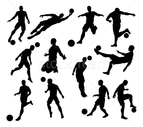 Silhouette Soccer Players Stock photo © Krisdog