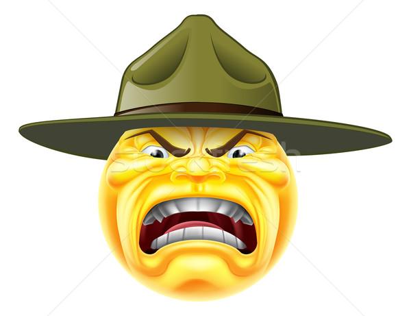 сердиться смайлик дрель сержант Cartoon армии Сток-фото © Krisdog