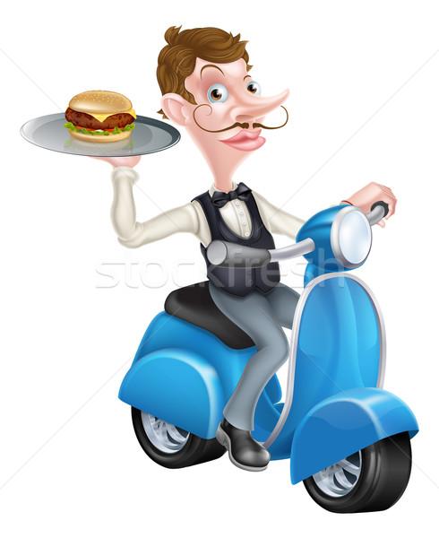 Cartoon Waiter on Scooter Moped Holding Burger Stock photo © Krisdog