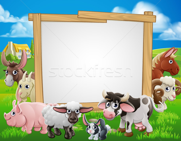 Farm Animals Cartoon Sign Stock photo © Krisdog