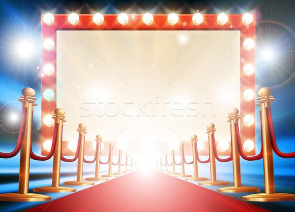 レッドカーペット 電球 にログイン 劇場 映画 スタイル ストックフォト © Krisdog