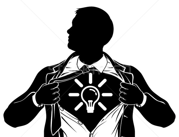 Idea Business Man Superhero Tearing Shirt Chest Stock photo © Krisdog