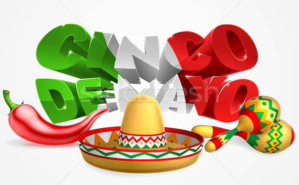 Cinco De Mayo Sign Sombrero Maracas and Pepper Stock photo © Krisdog