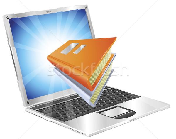 Książek ikona laptop książki na zewnątrz ekranu Zdjęcia stock © Krisdog