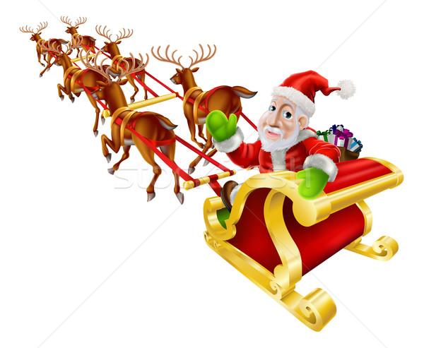 Cartoon Christmas Santa Claus Sled Stock photo © Krisdog