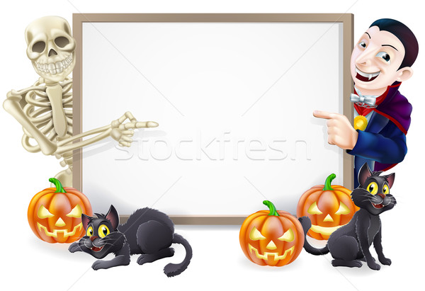 Halloween Sign with Skeleton and Dracula Stock photo © Krisdog