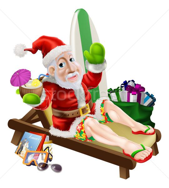 Сток-фото: Дед · Мороз · пляж · отпуск · Рождества · представляет · поиск