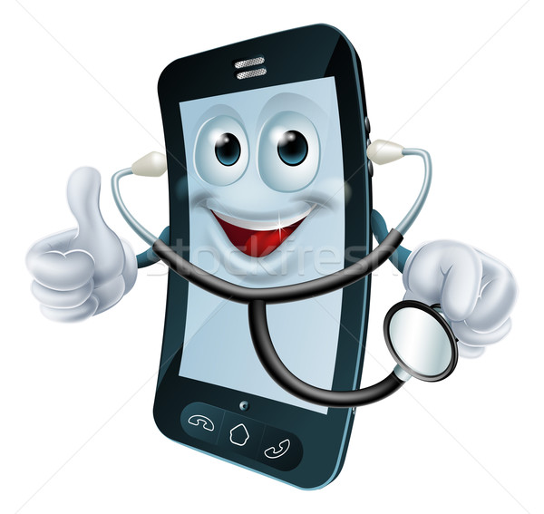 Stockfoto: Cartoon · telefoon · karakter · stethoscoop · illustratie
