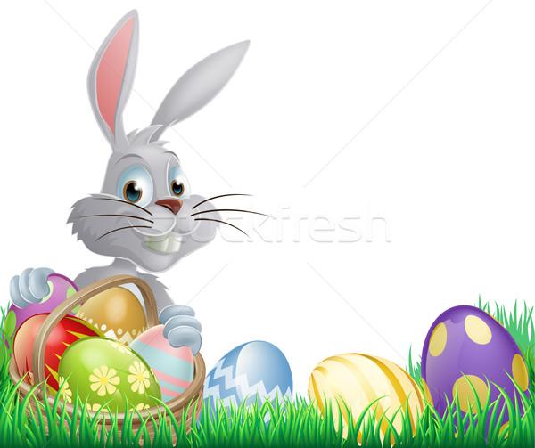 Ovos de páscoa coelho branco cesta chocolate primavera Foto stock © Krisdog