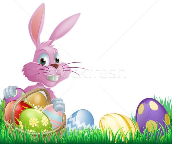 Roze paaseieren bunny konijn mand Stockfoto © Krisdog