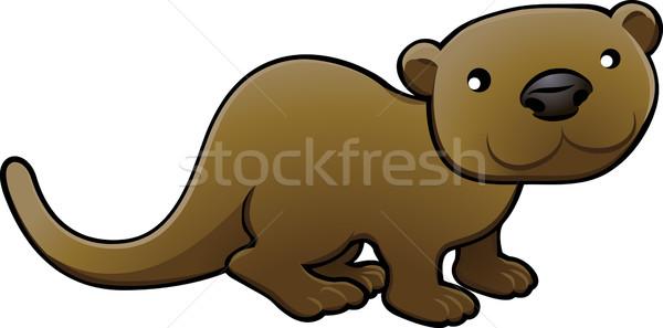 Sweet Otter Vector Illustration Stock photo © Krisdog