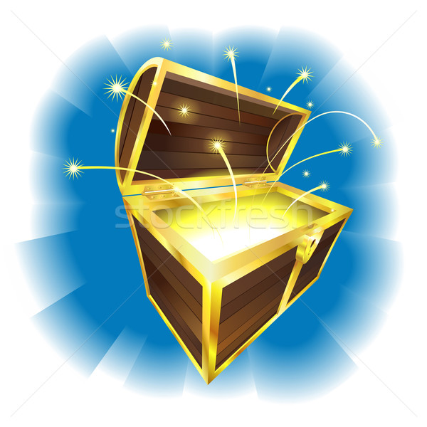 Illustration of treasure chest with sparks flying Stock photo © Krisdog