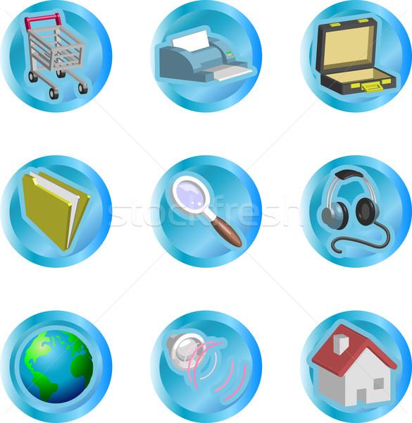Internet webes ikonok 3D szín háló ikon Stock fotó © Krisdog