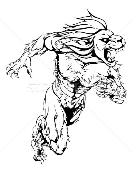 Leeuw sport mascotte lopen man karakter Stockfoto © Krisdog