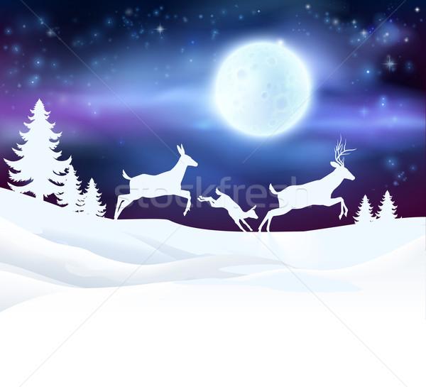 Stok fotoğraf: Noel · kış · sahne · geyik · aile