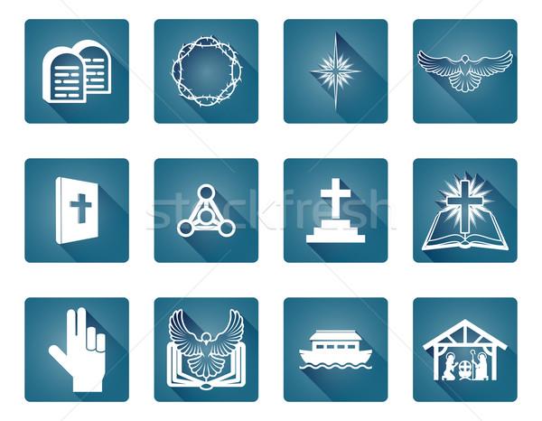 христианской набор религиозных иконки Сток-фото © Krisdog