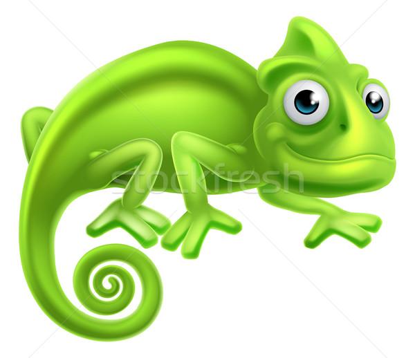 Cartoon camaleón cute lagarto carácter ninos Foto stock © Krisdog