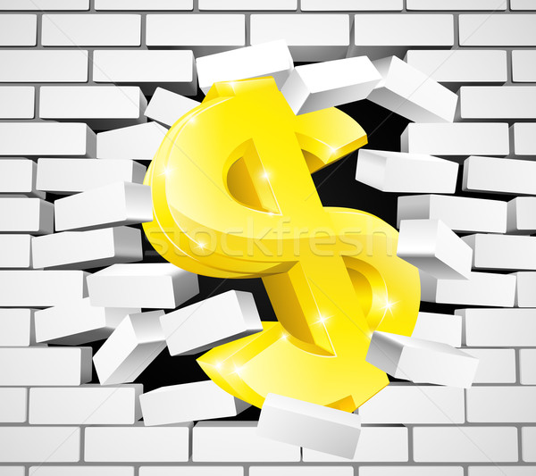 Dollar Sign Breaking Through White Brick Wall Stock photo © Krisdog