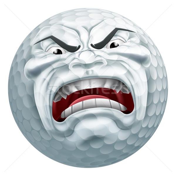 Angry Golf Ball Sports Cartoon Mascot Stock photo © Krisdog