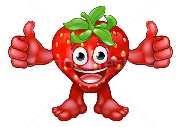 Fruit Strawberry Mascot Cartoon Character Stock photo © Krisdog