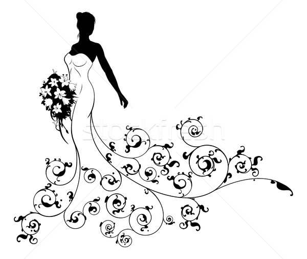 Wedding Bouquet Abstract Bride Silhouette  Stock photo © Krisdog