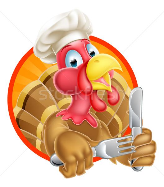 Szakács rajz Törökország hálaadás karácsony madár Stock fotó © Krisdog