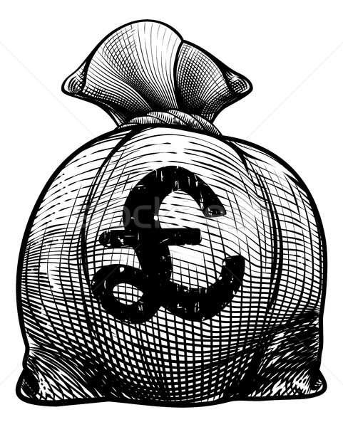 Pound Sign Burlap Sack or Money Bag Stock photo © Krisdog