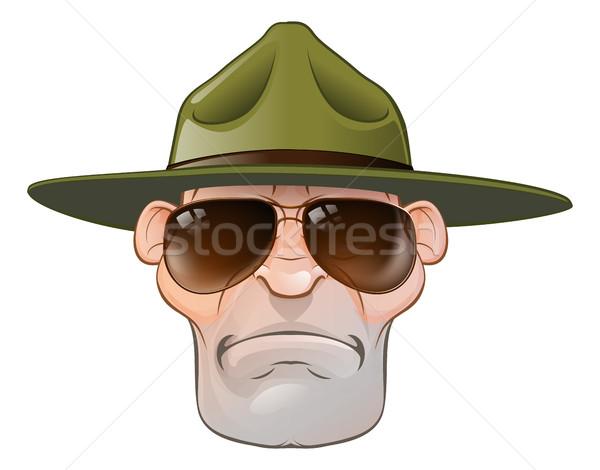 Cartoon boor sergeant boos leger boot Stockfoto © Krisdog