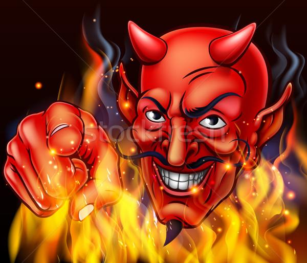 ördög pokol tűz lángok mutat kéz Stock fotó © Krisdog