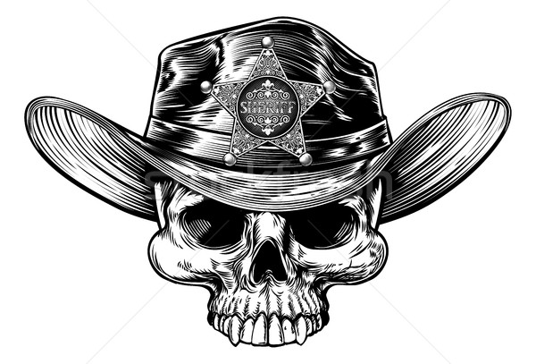 Skull Cowboy Hat Sheriff Stock photo © Krisdog