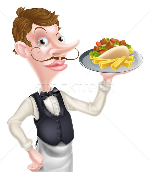 Cartoon De ober butler kebab frietjes Stockfoto © Krisdog