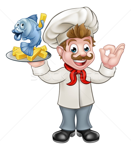 Photo stock: Poissons · puces · chef · cartoon · personnage