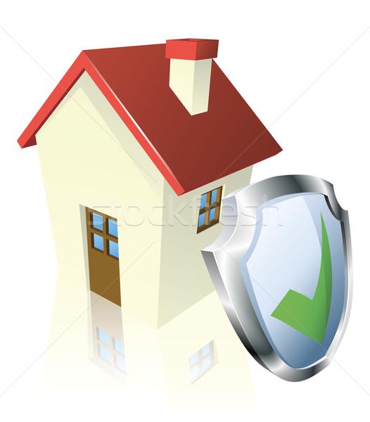 Proteger casa escudo verde segurado seguro Foto stock © Krisdog
