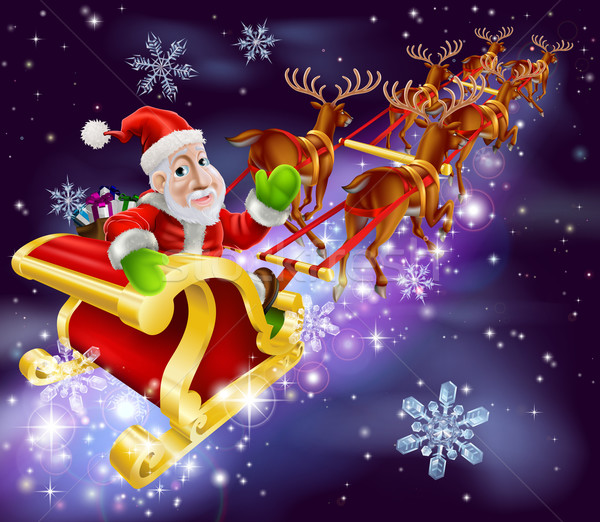 Christmas Święty mikołaj pływające sanie prezenty ilustracja Zdjęcia stock © Krisdog
