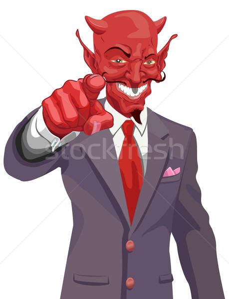 Diable pointant illustration entreprise monde Photo stock © Krisdog