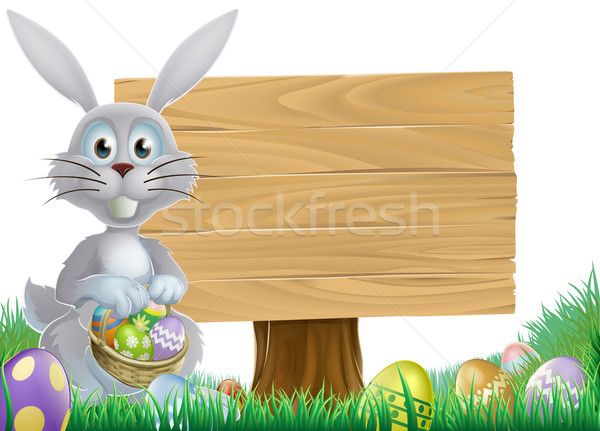 Bunny and Easter message sign Stock photo © Krisdog