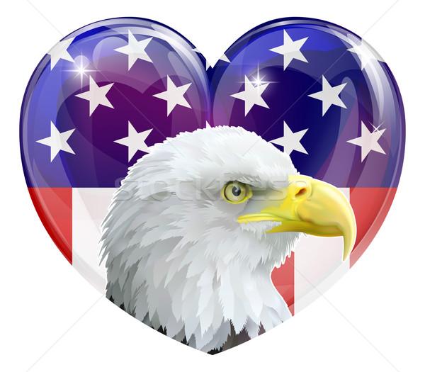 Stock fotó: Amerikai · zászló · sas · szeretet · szív · Amerika · amerikai