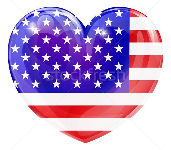 USA flag love heart Stock photo © Krisdog