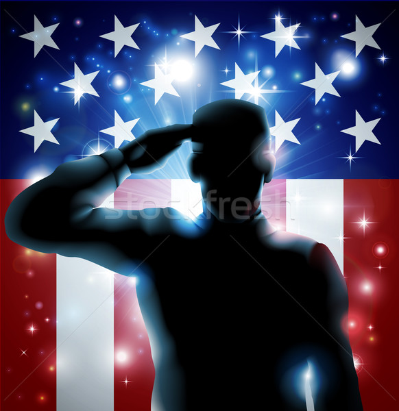 Stock photo: Hero Soldier and Stars and Stripes